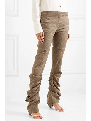 Preen by Thornton Bregazzi harriet ruched prince of wales checked wool slim-leg pants