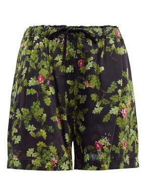 Preen by Thornton Bregazzi isabel leaf-print satin shorts