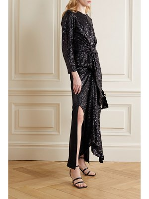 Preen by Thornton Bregazzi loena knotted sequined tulle and silk-satin maxi dress