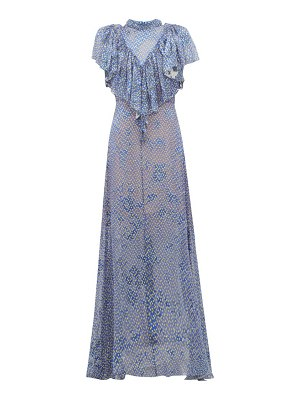 Preen by Thornton Bregazzi lyla graphic-print ruffled devoré maxi dress