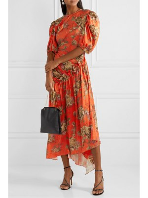 Preen by Thornton Bregazzi ophelie ruffled floral-print satin-jacquard midi dress
