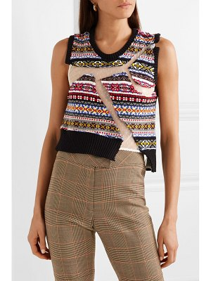 Preen by Thornton Bregazzi paneled intarsia cotton and point d'esprit tulle sweater