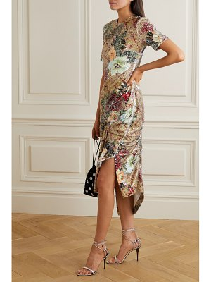 Preen by Thornton Bregazzi rio ruched floral-print sequined tulle midi dress