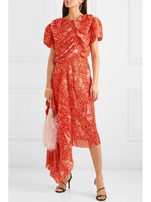 Preen by Thornton Bregazzi ronnie asymmetric pleated printed georgette maxi dress