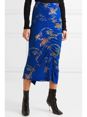 Preen by Thornton Bregazzi tracy ruched floral-print stretch-crepe midi skirt