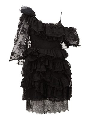 Preen by Thornton Bregazzi valerie one-shoulder tiered lace dress