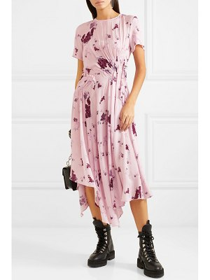 Preen Line lois asymmetric shirred floral-print georgette midi dress