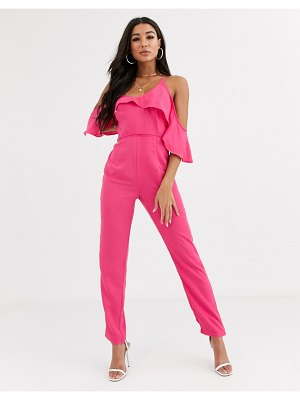 Pretty Darling strappy jumpsuit with ruffle layer-pink