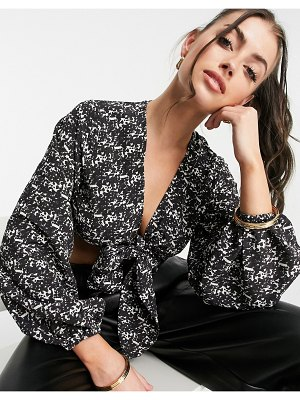 Pretty Lavish cecile tie front blouse set in abstract print-black