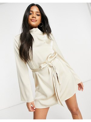 Pretty Lavish high neck satin tie waist mini dress in oyster-cream