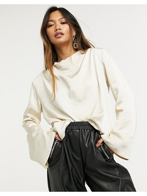 Pretty Lavish jayda high neck drape blouse with flared sleeve in oyster-white