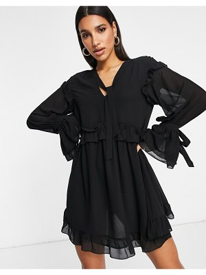 Pretty Lavish smock mini dress with ruffle and tie detail in black