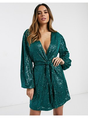 Pretty Lavish tie mini dress in emerald sequin-green