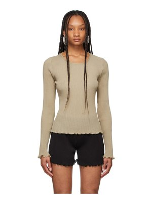 PRISCAvera taupe pleated knit sweater