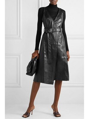 Proenza Schouler belted paneled leather wrap dress