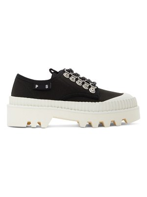 Proenza Schouler black and white city lug lace up derbys