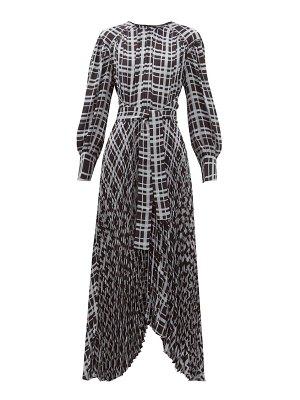 Proenza Schouler checked pleated asymmetric crepe dress