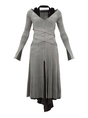 Proenza Schouler crossover belted ribbed knit dress