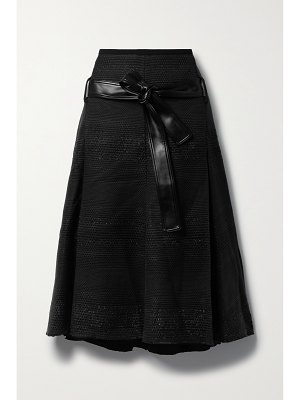 Proenza Schouler faux leather-trimmed tweed midi skirt