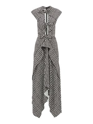 Proenza Schouler knotted cut out checked maxi dress