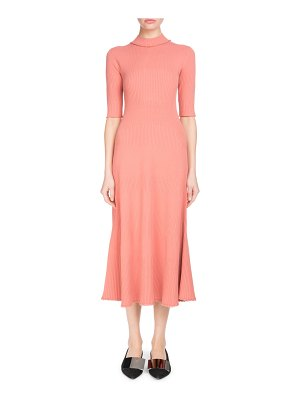 Proenza Schouler Mock-Neck Elbow-Sleeve Staggered-Ribbed A-Line Midi Dress