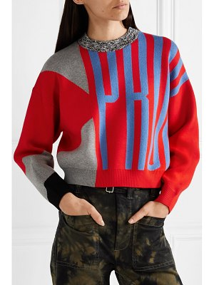 Proenza Schouler pswl cropped color-block jacquard-knit sweater