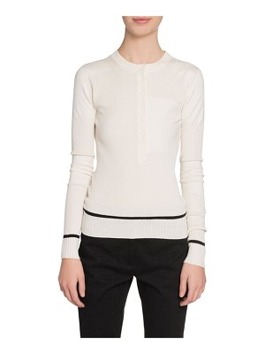 Proenza Schouler Ribbed Silk-Cashmere Henley Sweater