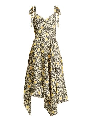 Proenza Schouler Tie-shoulder floral-print crepe dress
