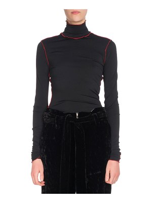 Proenza Schouler Turtleneck Long-Sleeve Fitted Top w/ Contrast Piping