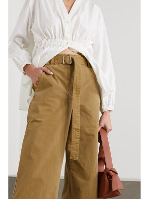 PROENZA SCHOULER WHITE LABEL belted washed cotton-canvas wide-leg pants