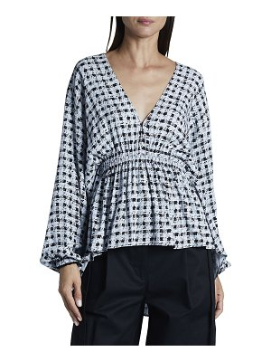 PROENZA SCHOULER WHITE LABEL Printed Georgette Long-Sleeve Blouse