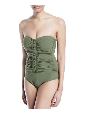 Profile By Gottex Moto Ruched Bandeau One-Piece Swimsuit