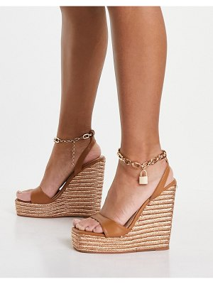 Public Desire idolize espadrille wedge sandals with padlock detail in camel pu-neutral