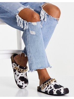 Public Desire isabel mule clogs with chain trim in cow print-multi