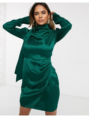 Public Desire mini dress with wrap front skirt and tie neck in animal satin-green