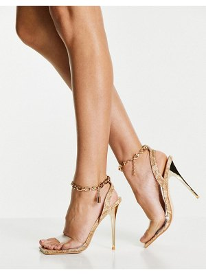 Public Desire superior ankle chain heel sandals in snake print-neutral