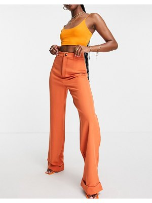 Public Desire tailored pants with turn up detail set in rust-brown