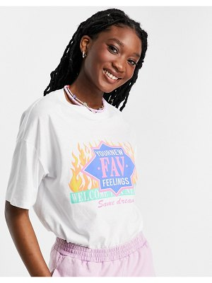 Pull & Bear graphic t-shirt with flame detail in white