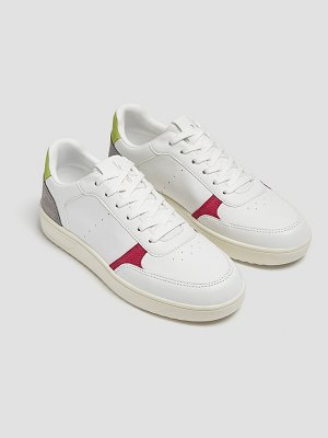 Pull & Bear retro sneakers in white with color block