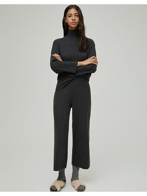 Pull & Bear set soft touch wide leg pants in black