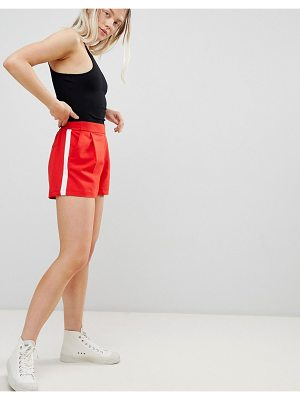 Pull & Bear tailored side stripe short in red