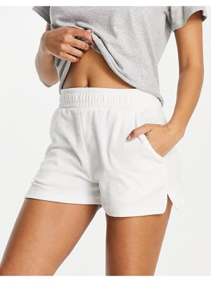 Pull & Bear towel shorts in white