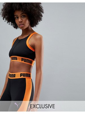 PUMA Exclusive To Asos Zip Up Bra Top In Black And Orange