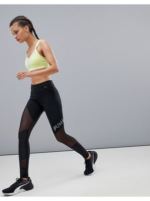 PUMA Mesh Panel Leggings In Black With Iridescent Logo