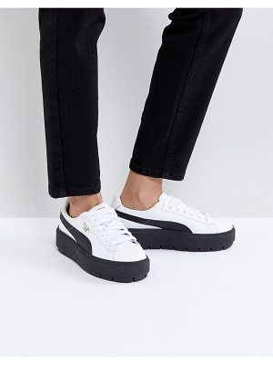 PUMA Platform Trace Sneakers In White Black With Gum Sole