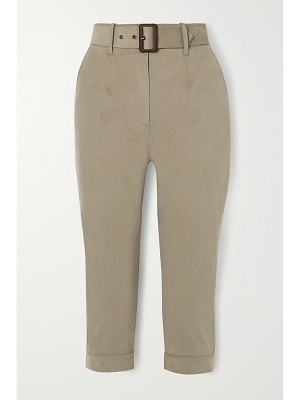 Purdey belted cropped brushed cotton-blend tapered pants