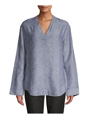 Pure Navy V-Neck Linen Top