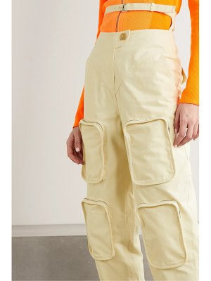 pushBUTTON belted cutout cotton-canvas tapered pants