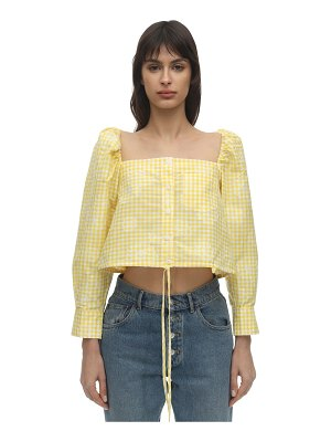 pushBUTTON Cropped cotton blend top