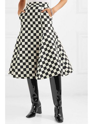 pushBUTTON fluted checked wool-blend midi skirt